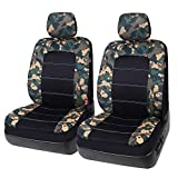 Leader Accessories Low Back Camo Front Seat Covers with Headrest Covers for Car and Truck, Fits Most Bucket Seats Airbag Ready