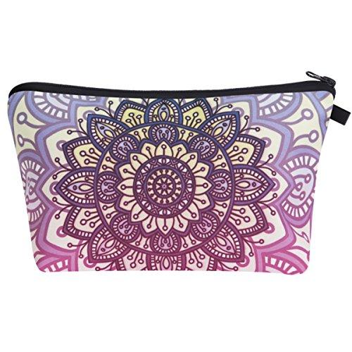 PREMYO Kosmetiktasche Klein für Handtasche - Schminktasche Damen Make Up Tasche - Federmappe Mädchen Etui Mandala