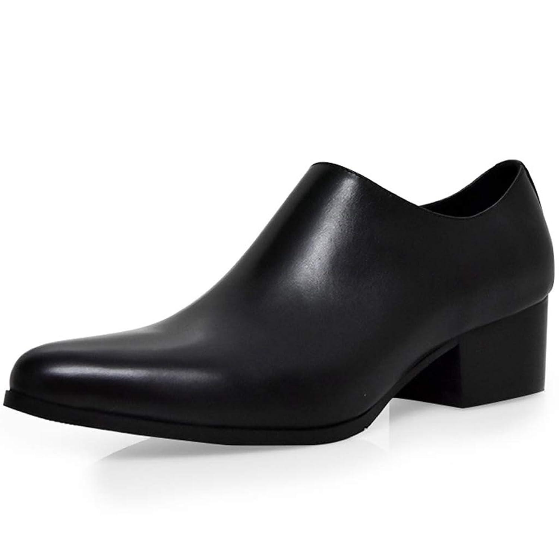 [Placck] メンズ ビジネスシューズ 紳士靴 ポインテッドトゥ 本革 サイドジップ ヒール ブーツ ブラック 24cm-27cm