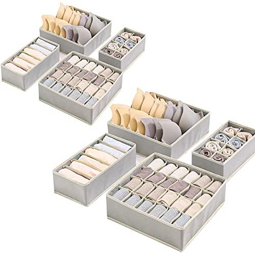 Yidaxing Organizer per Biancheria Intima, Set di 8 Armadio Divisori Pieghevole Storage Box Cassetto Organizzator per Biancheria Intima, Reggiseni, Calze, Fazzoletti e Cravatte (Grigio)