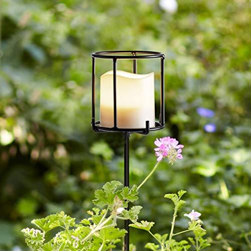 Lights4fun Metall Fackel 115cm hoch inkl. LED Kerze batteriebetrieben Timer Außen