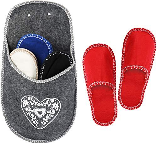 com-four® 4X Paar hochwertige Gäste-Pantoffeln im Set - Gäste-Hausschuhe in dekorativer Aufbewahrung - warme Filzschuhe für Kinder, Damen und Herren (5-teilig Set12)