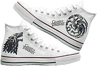 Art T-Shirt -Dragons and Wolf Baskılı Unisex Canvas Ayakkabı