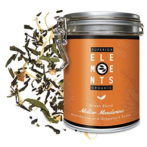 """""""Mellow Mandarine"""" Grüner Tee Lose mit Mandarine Grapefruit Geschmack, 100 Gramm Aromatisierter Grüntee in Dose (ca. 40 Tasse) von alveus"""