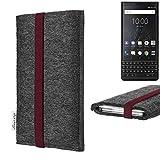 flat.design vegane Handy Tasche Coimbra kompatibel mit BlackBerry KEY2 (Dual-SIM) - Schutz Hülle Tasche Filz vegan fair Bordeaux