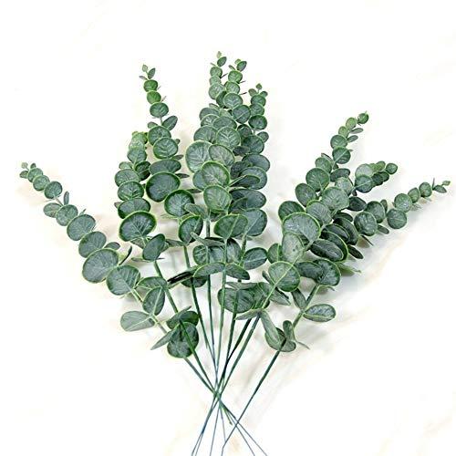 Kunstmatige en gedroogde bloemen simulatie groene plant Single Eucalyptus Blad Imitatie Dry Branch Artificial Fake Wedding Flower Schieten Prop Home Decoration (Color : 1 pc green)
