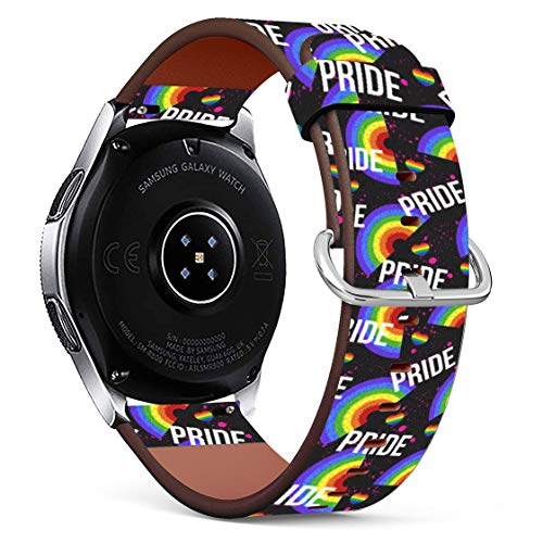 Replacement Leather Printing Wristbands Compatible with Galaxy Watch3 (45mm) / Galaxy Watch (46mm), Standard 22mm Strap - LGBT Gay Pride Rainbow Pattern