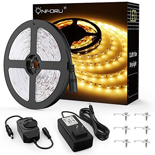 Onforu 33ft LED Strip Light, 10m Dimmable Tape Light, 3000K Warm White Ribbon Light, 2835 LEDs 12V Flexible Strip Lighting for Under Cabinet, Home, Kichen, Bedroom, Non-Waterproof