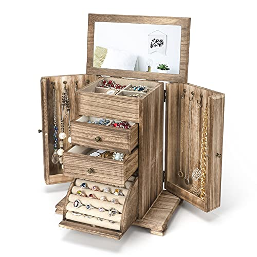 Emfogo Jewelry Box for Women, Rustic Wooden Jewelry Boxes & Organizers with Mirror, 4 Layer Jewelry Organizer Box Display for Rings Earrings Necklaces Bracelets (Torched Wood Color)