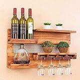 BXU-BG Estante de vino de madera maciza comedor sala de estar sola barra de vino estante creativo vino estante de vidrio vino estante superior