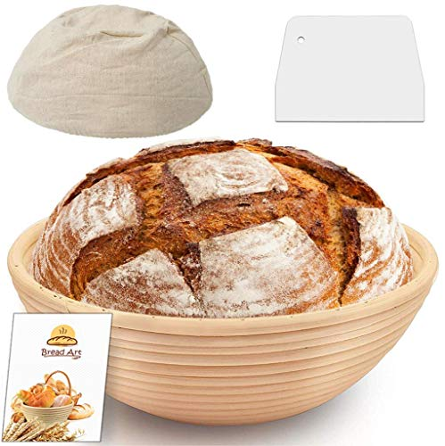 9 Inch Round Proofing Basket, Splinter-Free Sourdough Bread Banneton, Top Grade Rattan Bowl, Affordable Brotform Set with Linen Cloth Liner, Plastic Dough Scraper for Home and Professional Bakers