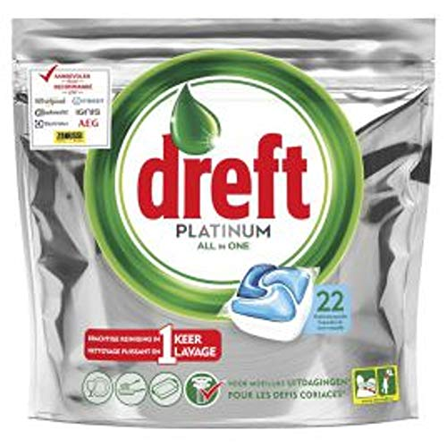 DREFT Platinum Spülmaschinentabs All-In-One - Cool Blue - 22 Kapseln / Tasche