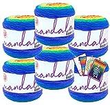 Lion Brand Yarn - Mandala Baby - 6 Pack with Patterns (Rainbow Falls)