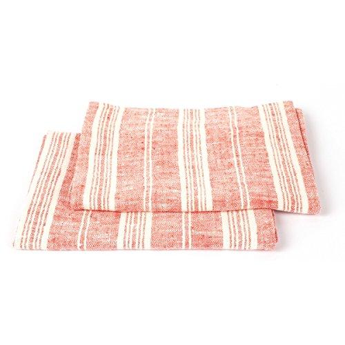 LinenMe 47 x 66 cm Set di 2 Asciugamani, Uno da Mani e Uno per Ospiti, in Lino multistrisce, Rosso/Bianco