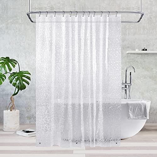 Duschvorhang Transparent 180x180 cm, Feagar Duschvorhänge Shower Curtains mit 12 Duschvorhangringen & 3 Magnete|Duschvorhang Durchsichtig Antischimmel Wasserdicht für Dusche & Badewanne