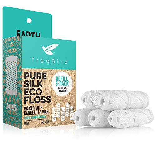 Compostable Dental Floss Refills | Pack of 5 x 33yds Organic Peace Silk Spools | For a Refillable Glass & Stainless Steel Holder | Waxed With Natural Candelilla Wax | Flavored With Mint Essential Oils