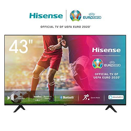 Hisense 43AE7000F 108cm (43 Zoll) Fernseher (4K Ultra HD, HDR, Triple Tuner DVB-C/S/S2/T/T2, Smart-TV, Frameless, Bluetooth, Alexa) [Modelljahr 2020]