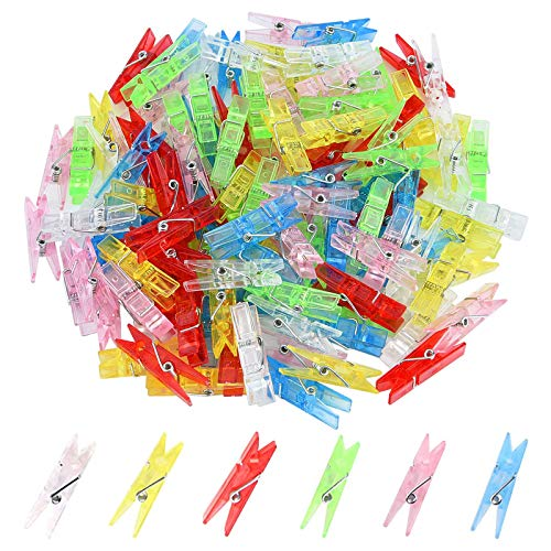 100 Pcs Pinzas Mini Pinzas de plástico Transparente Mini Pinzas de Ropa Plastico Pinzas Transparentes Fotos Decoracion Clips Fotos Mini Pinzas Decorativas