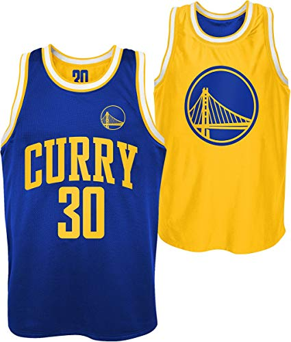 Outerstuff NBA Golden State Warriors - Stephen Curry Uomo Canotte Blu/Giallo L 100% Poliestere Regular
