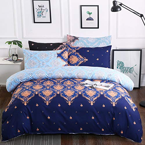 HDBUJ Pattern Blue Bedding 3-Piece Set, Soft Polyester Duvet Cover Set, With Zipper, Easy To Remove, Two Pillowcases 260X220Cm