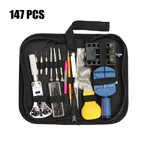 147-teiliges Uhrenreparatur-Werkzeug-Set mit Hebeplattform, inklusive Uhrenrückseite, Öffner, Kettenlöser, Federstege und mehr, in Tragetasche.