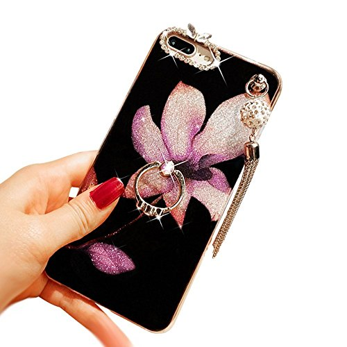 Auroralove iPhone 6 Plus Bling Flower TPU, iPhone 6s Plus Beauty Fashion Shiny Diamond Rhinestone Slim Soft Rubber Hybrid Makeup Case with Ring Stand for Girls Women(Violet)