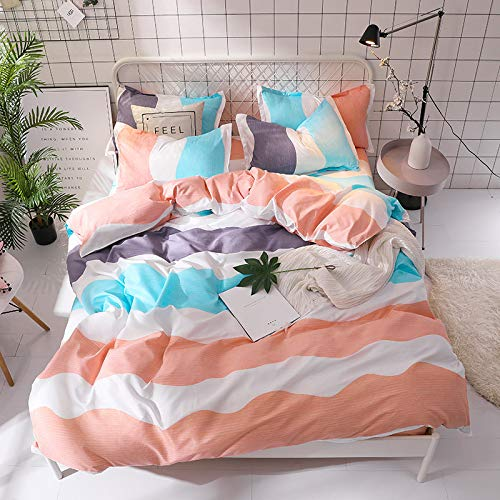 QWEASDZX Duvet Cover Polyester Cotton Four-Piece Cotton Bedding Sheets Quilt Cover Pillowcase Microfiber Decorations Easy To Clean 1.8m