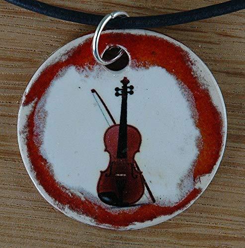 Echtes Kunsthandwerk: Toller Keramik Anhänger mit einem Bass; Geige, Violine, Streichinstrument, Musiker, Geiger, Fiedel, Fidel, Violine