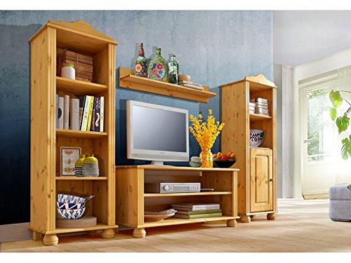 LifeStyleDesign 3009044 Wohnwand Ella, 130 x 30 x 185 cm, kiefer, gebeizt geölt