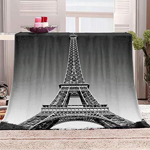 JKRFV Wohnzimmerdecke Eiffelturm, Frankreich Gedruckte Fleecedecke Weich Dicke Wohnzimmerdecke Tagesdecke Sofadecke zweiseitige Decke 70x100cm