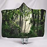 Wandlovers Sudadera con capucha y diseño de bosque verde y sol, suave con capucha, color blanco, 150 x 200 cm