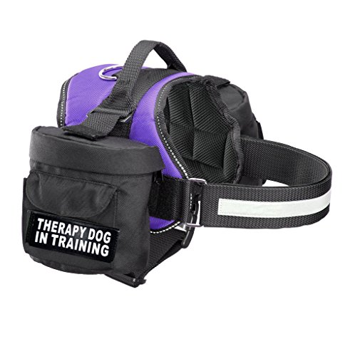 Therapy Dog in Training Harness with Removable Saddle Bag Backpack Harness Carrier Traveling. 2 Removable Patches. Please Measure Dog Before Ordering.…