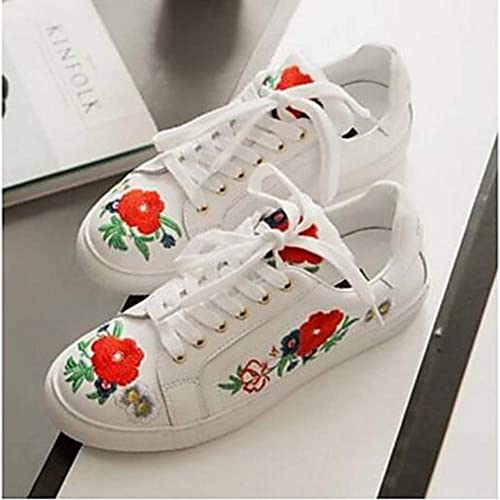 TTchaussures Femme Chaussures Cuir Nappa Printemps été Confort Basket Talon Plat Bout Rond Blanc,blanc,US5.5 EU36 UK3.5 CN35