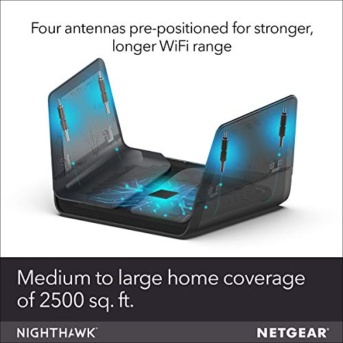 NETGEAR Nighthawk AX8 8-Stream WiFi 6 Router (RAX80) - AX6000 Wireless Speed (up to 6Gbps) | Coverage for Large Homes | 5 x 1G and 1x 2G Ethernet ports | 2 x 3.0 USB
