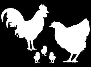 Chicken Family - Animal Decal Vinyl Removable Decorative Sticker (White, 5