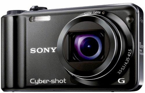 Sony DSC-HX5V Digitalkamera (10 Megapixel Exmor R, 10fach optischer Zoom, 7,6 cm, LC-Display, Full HD Video, Bildstabilisator, Sweep-Panorama, GPS) schwarz