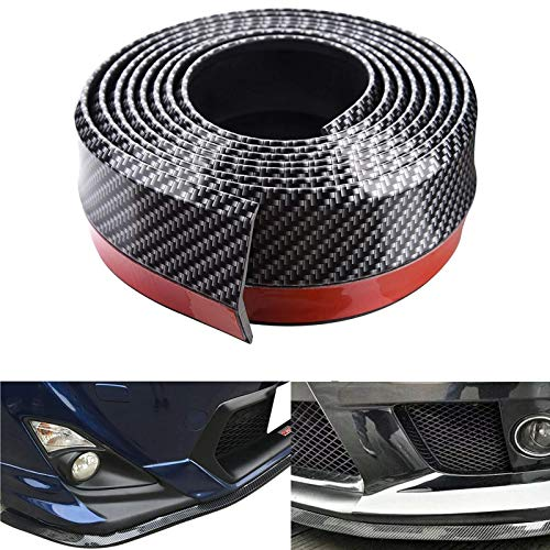 Spurtar Front Bumper Spoiler 8.2ft (250cm) Universal Rubber Bumper Lip Guard Strip Spoiler 3D Side Skirt Fits Most Cars (Carbon Fiber Black)