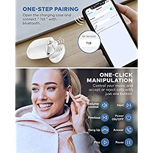 Falwedi IPX7 Waterproof Bluetooth Earbuds, True Wireless Earbuds, 30H Cyclic Playtime Headphones with Type C Charging Case and mic, in-Ear Stereo Earphones Headset for Sport - White