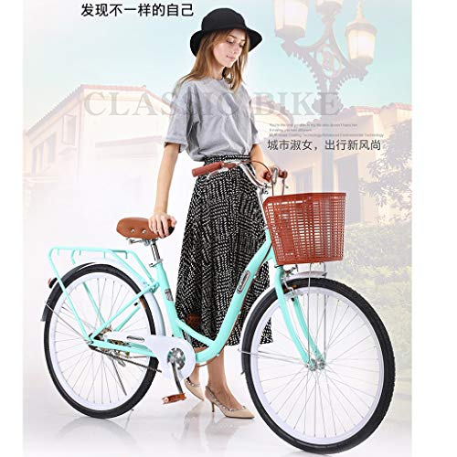 26' Classic Bicycle Retro Bicycle with Assembly Tool, Beach Cruiser Bicycle High-Carbon Steel Bicycle, Single Speed Commuter Bicycle, Women's (Blue)