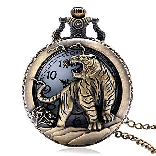 JYTFZD YANGLOU-Reloj de Bolsillo- Reloj de Bolsillo Reloj de Bolsillo Vintage Bronce Tigre Hueco Retro Reloj Collar Colgante Pendientes para Mujer Retro Punk OUZDHB-5