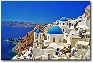 So Crazy Art - Canvas Print Wall Art Painting For Home Decor,Oia Town On Santorini Island, Greece. Traditional And Famous White Houses And Churches With Blue Domes Over The Caldera, Aegean Sea Paintings Modern Giclee Stretched And Framed Artwork The Picture For Living Room Decoration,Landscape Pictures Photo Prints On Canvas