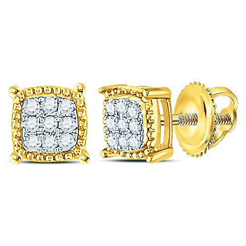 10k Yellow Gold Mens Round Diamond Square Milgrain Earrings Studs 1/10 Ct.