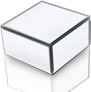 Qmdecor Square Jewelry Accessories Storage Collection Organizer Simple Design Mirrored Box Jewelry Holder Material In Silv...