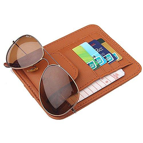 Funda de almacenamiento de piel sintética para coche, organizador de gafas de sol, parasol, funda tipo cartera, clips para visera de sol, color marrón
