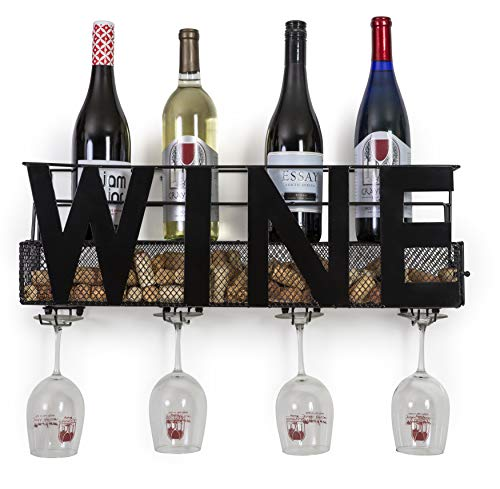 "Besti Premium Black Wall Mount Metal Wine Rack with ""Wine"" Word Hanging Horizontal Bottle Holder Storage Decorative Display – Sturdy Construction –Home Décor for Living Room Or Kitchen (Wine)"