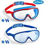 Elimoons 2-PACK Kids Swimming Goggles Junior Children Girls Boys Early Teens Age 3-15