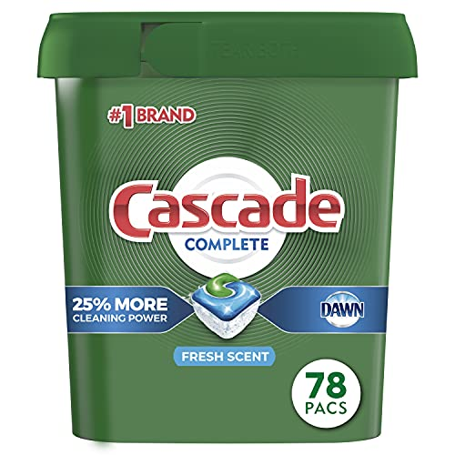 Cascade Complete Dishwasher-Pods, ActionPacs Dishwasher Detergent Tabs, Fresh Scent, 78 Count (Packaging May Vary)