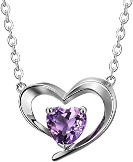 Fancime 925 Sterling Silver Natural Gemstone Garnet/Amethyst Heart Pendant Necklace Stunning January/February Birthstone Fine Jewelry Gifts For Women Girls,Chain Length 18