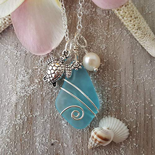 Handmade in Hawaii, Turquoise Bay blue sea glass necklace, Turtle charm, freshwater pearl,'December Birthstone',(Hawaii Gift Wrapped, Customizable Gift Message)