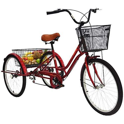 DNNAL Triciclo para Adultos de 24 Pulgadas, Bicicleta Triciclo de Rueda de 7 velocidades Ajustable con Canasta de Gran tamaño para Ejercicio de Compras recreativas